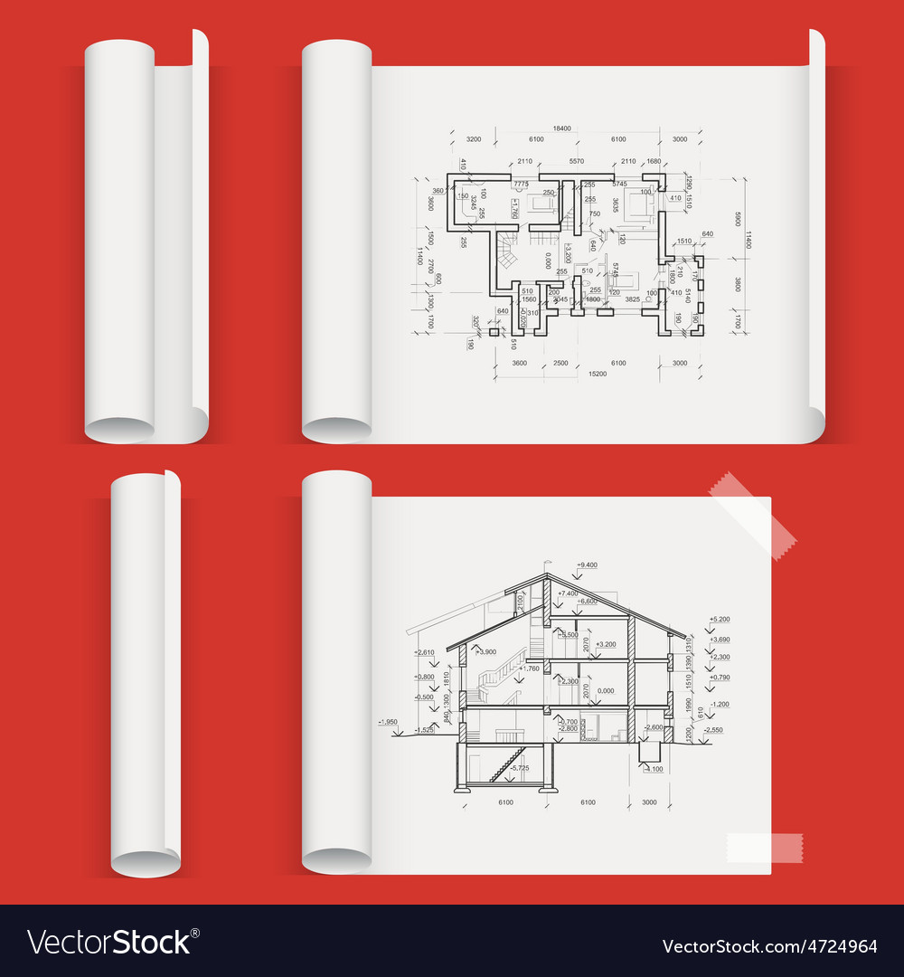 Set of sheets a different form with drawing house vector | Price: 1 Credit (USD $1)