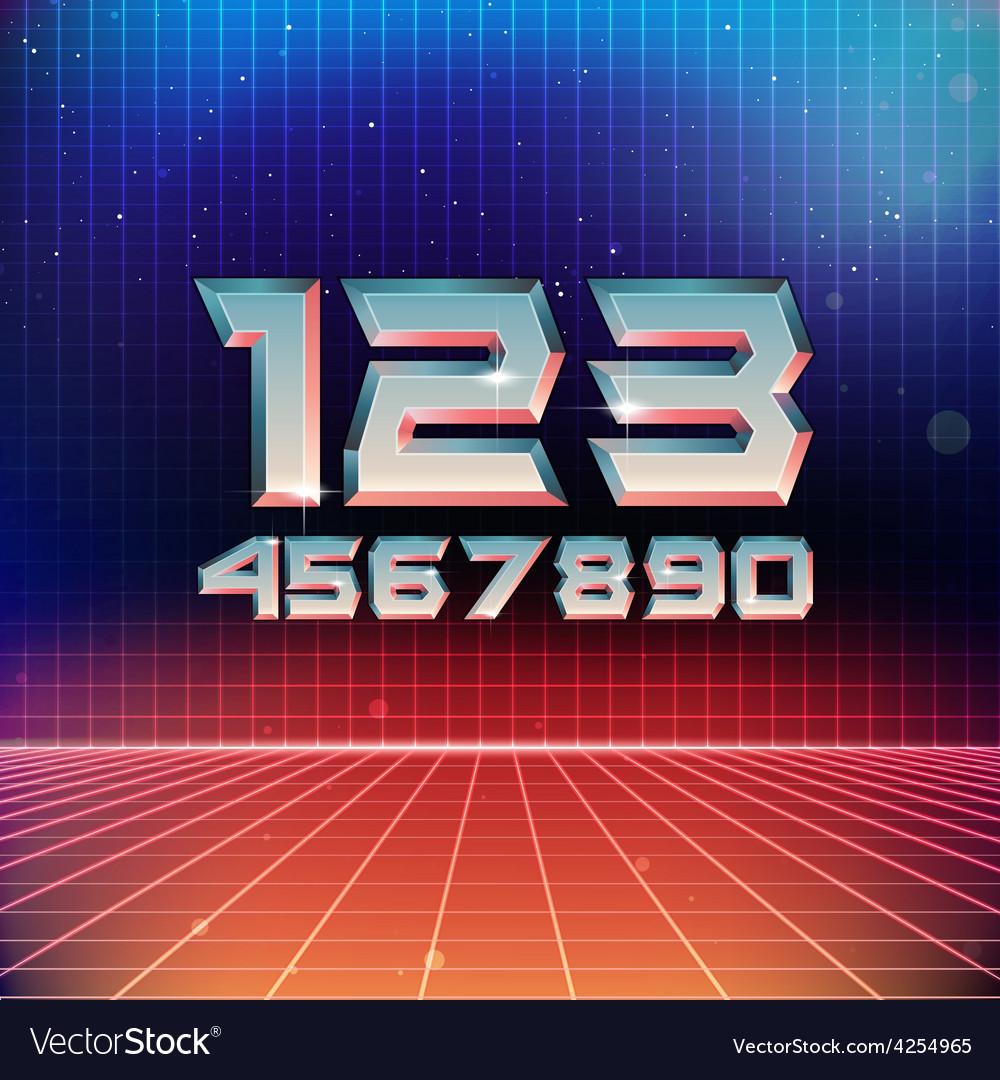 80s retro futuristic numbers vector