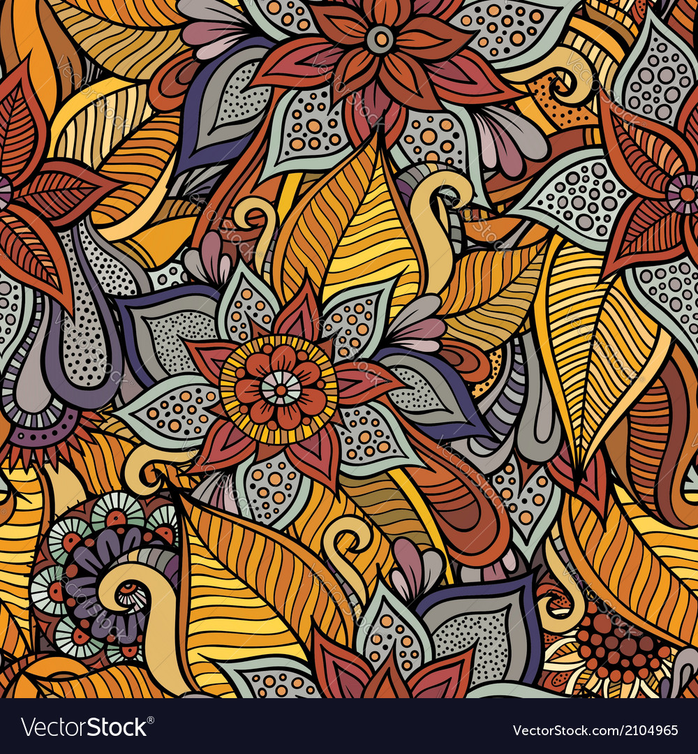 Autumn floral seamless pattern vector | Price: 1 Credit (USD $1)