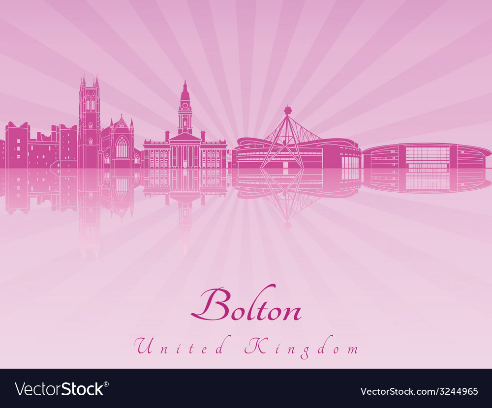 Bolton skyline in purple radiant orchid vector | Price: 1 Credit (USD $1)