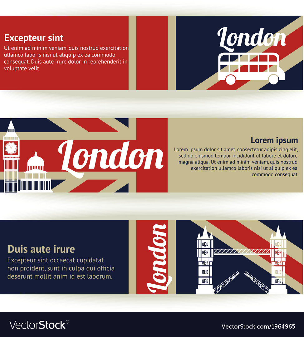 Collection of banners and ribbons with london vector | Price: 1 Credit (USD $1)