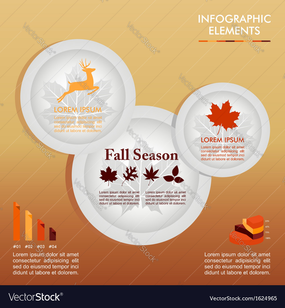 Fall season infographic plates autumn graphics vector | Price: 1 Credit (USD $1)