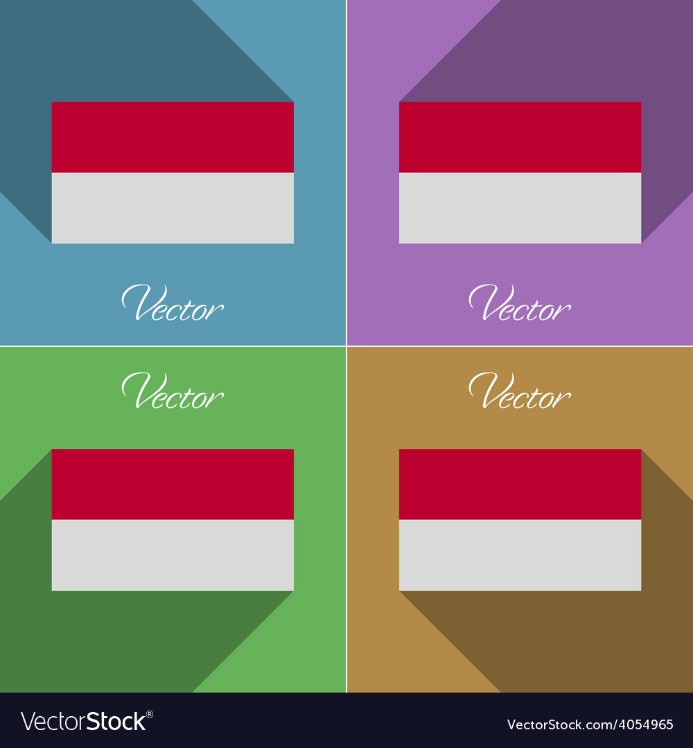 Flags indonesia set of colors flat design and long vector | Price: 1 Credit (USD $1)