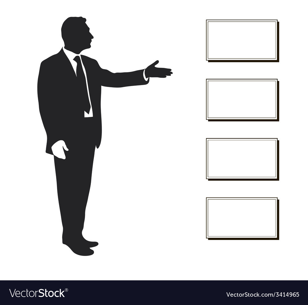 Manager shows items objectives text priorities vector | Price: 1 Credit (USD $1)