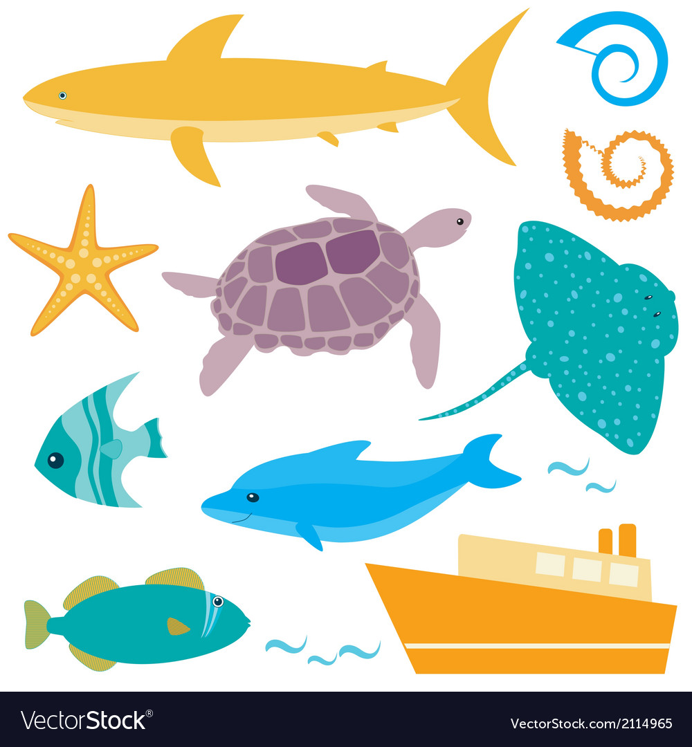 Sea animals collection vector | Price: 1 Credit (USD $1)
