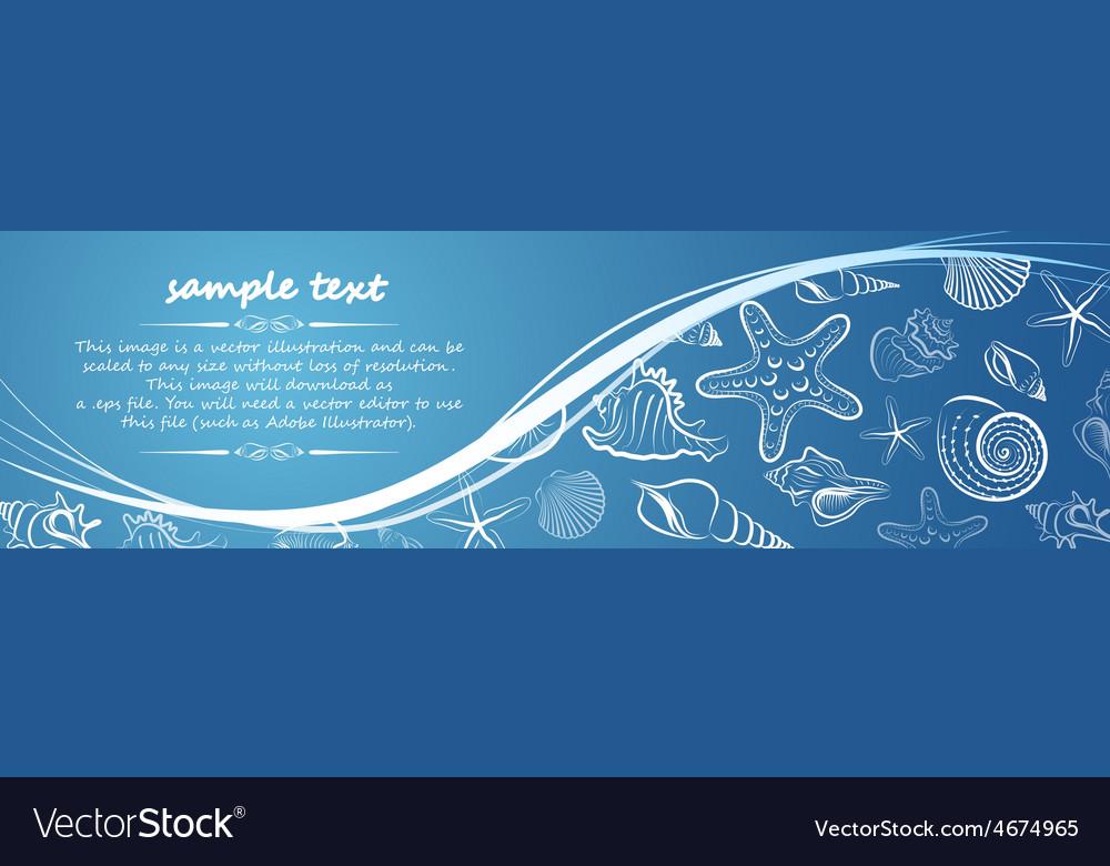 Seashell card2 vector | Price: 1 Credit (USD $1)