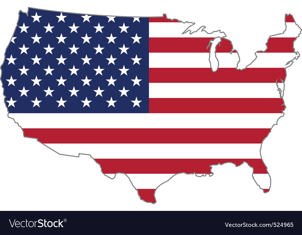 Usa flag inside country border vector | Price: 1 Credit (USD $1)