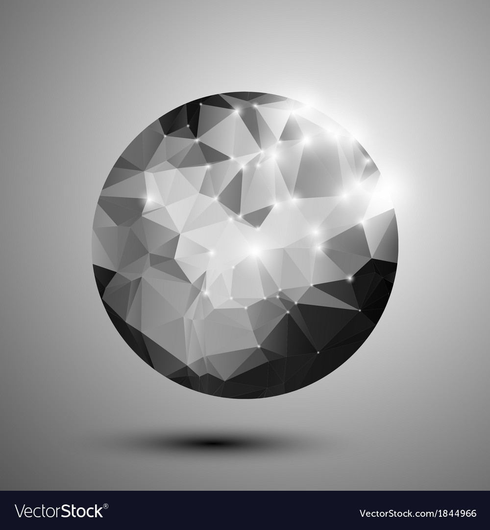 Abstract black and white shiny polygonal sphere vector | Price: 1 Credit (USD $1)