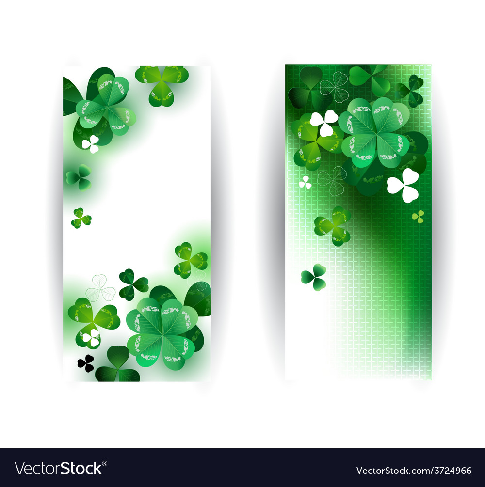 Banners with green shamrock vector | Price: 1 Credit (USD $1)