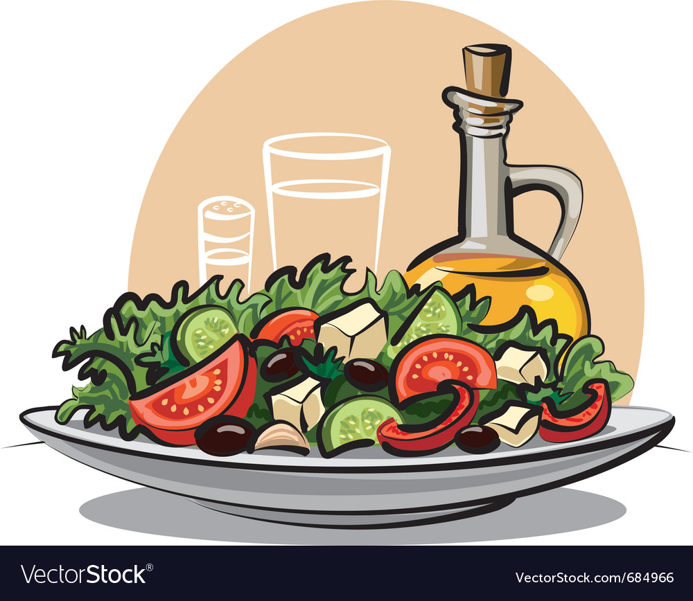 Fresh green salad vector | Price: 3 Credit (USD $3)