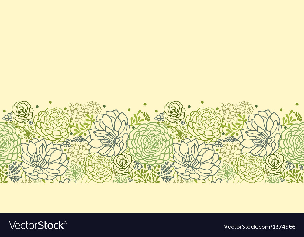Green succulent plants horizontal seamless pattern vector | Price: 1 Credit (USD $1)
