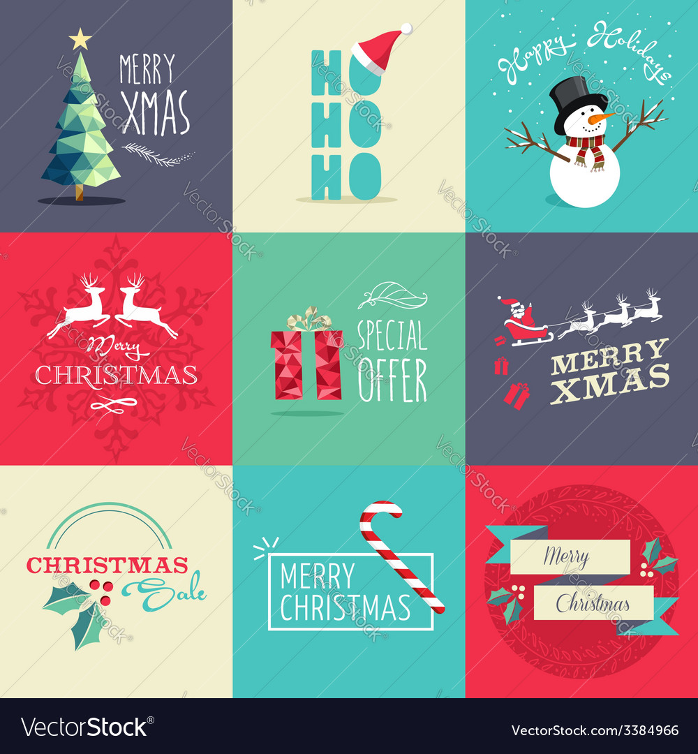 Merry christmas flat elements set vector | Price: 1 Credit (USD $1)