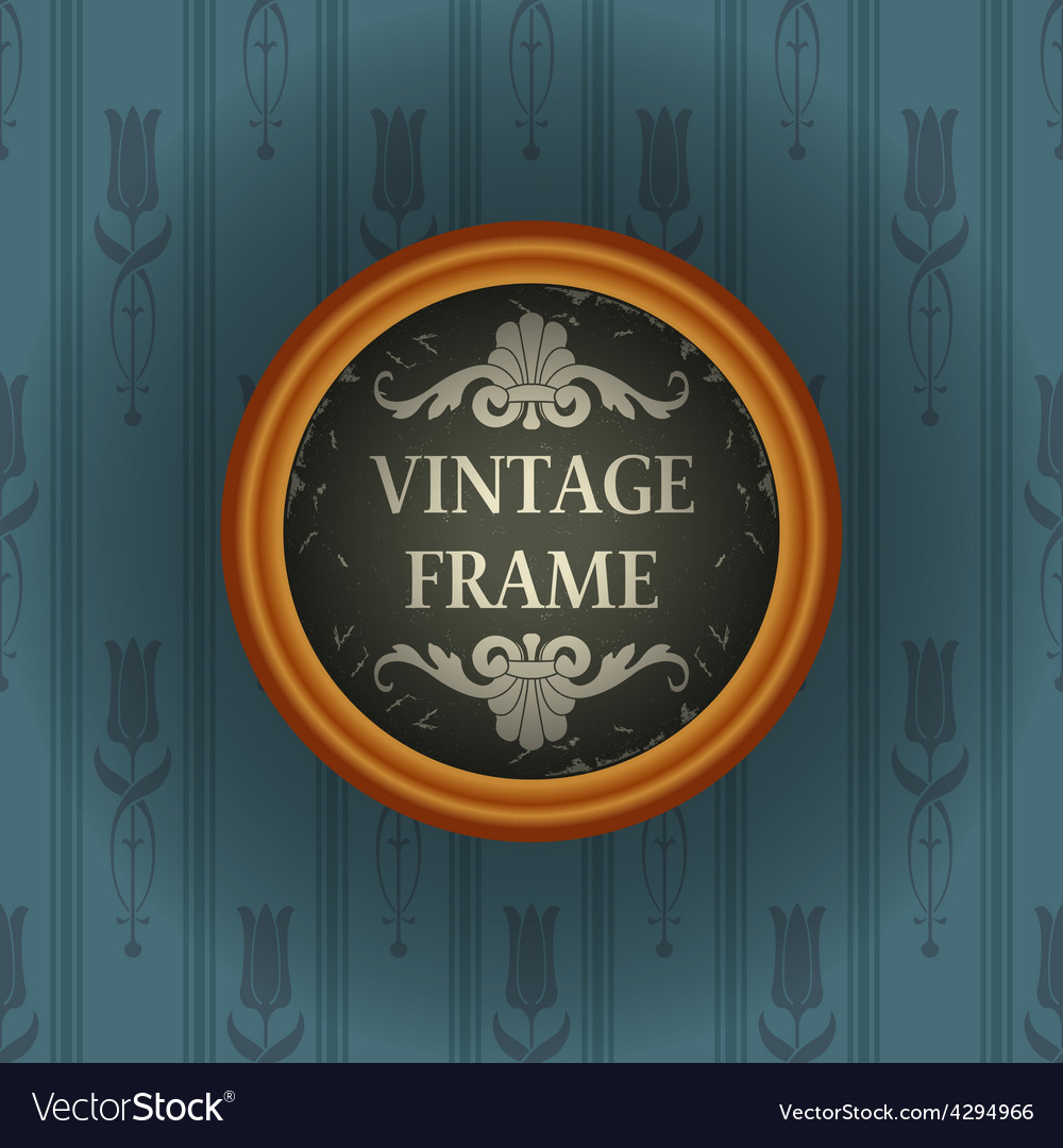 Old wallpaper with vintage frame vector | Price: 1 Credit (USD $1)