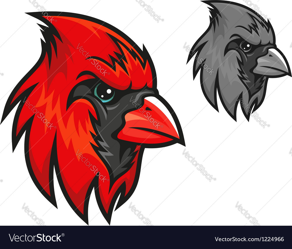 Red cardinal bird in cartoon style vector | Price: 3 Credit (USD $3)