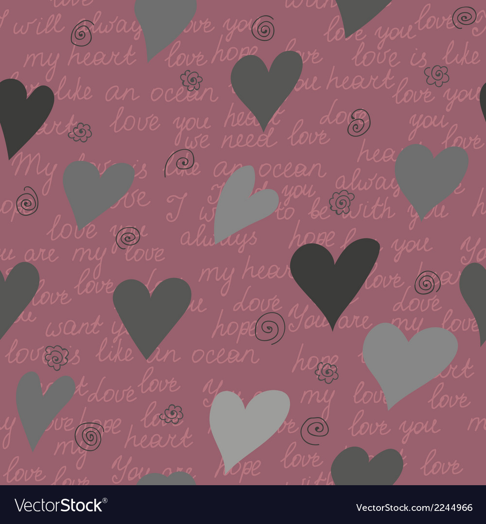 Seamless pattern made of hearts and romantic handw vector | Price: 1 Credit (USD $1)