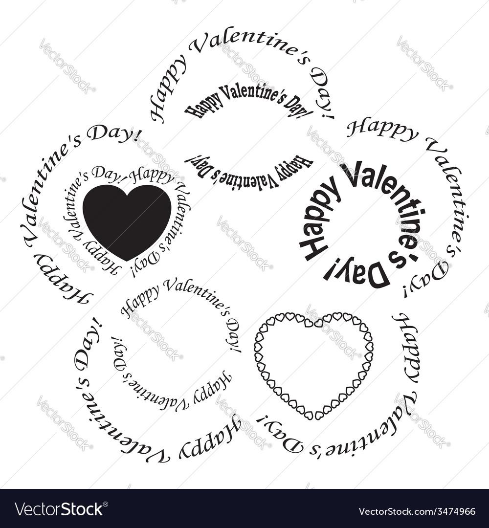 Set of black frames - happy valentine day vector | Price: 1 Credit (USD $1)