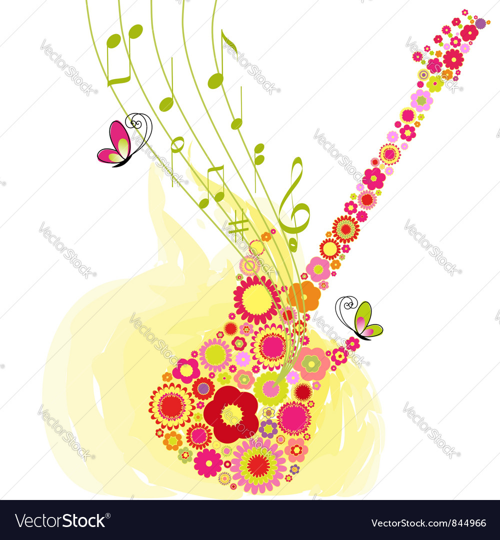 Spring guitar music vector | Price: 1 Credit (USD $1)