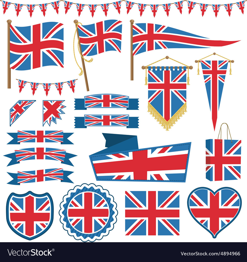 Uk flag decorations vector