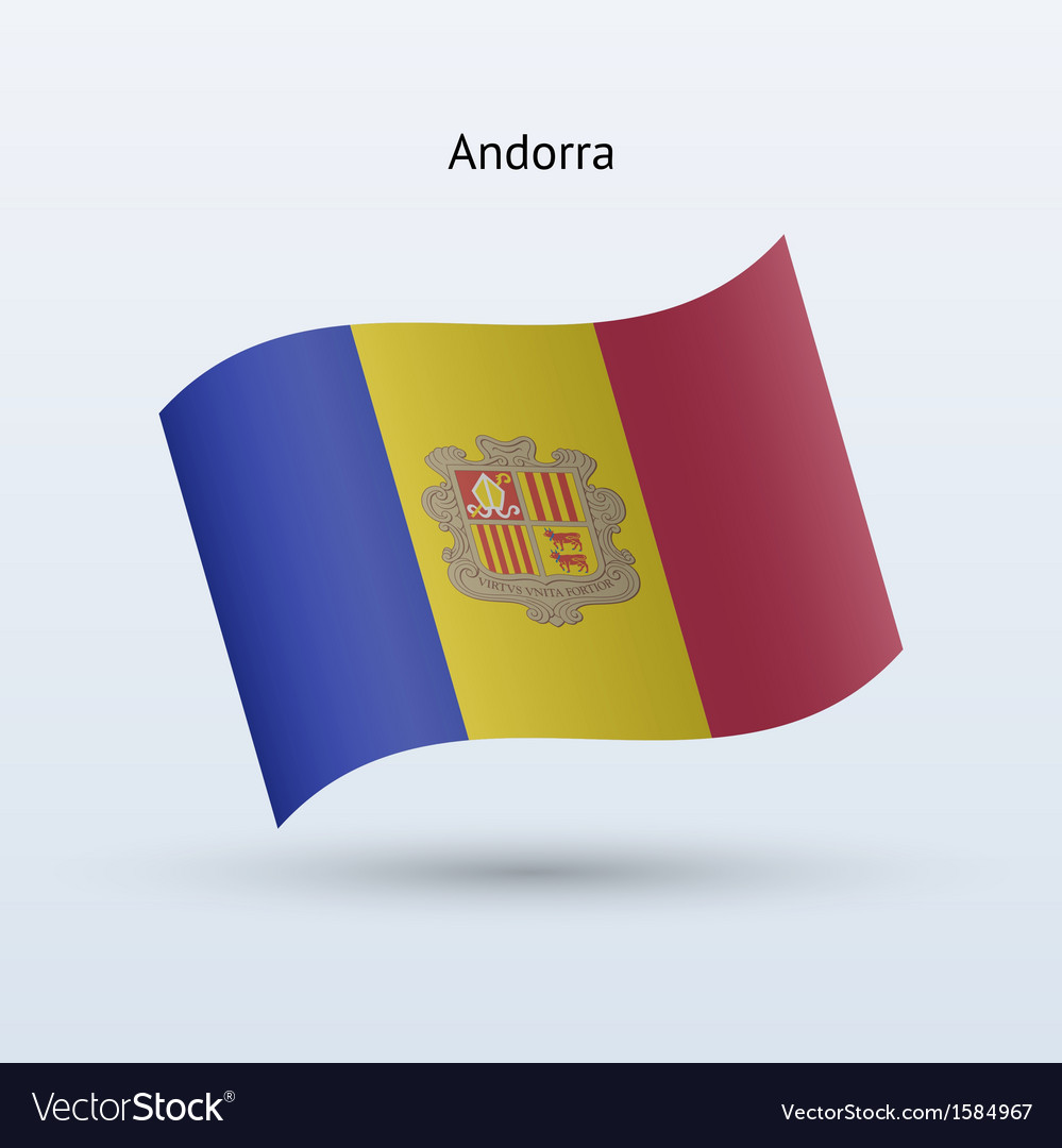 Andorra flag waving form vector | Price: 1 Credit (USD $1)