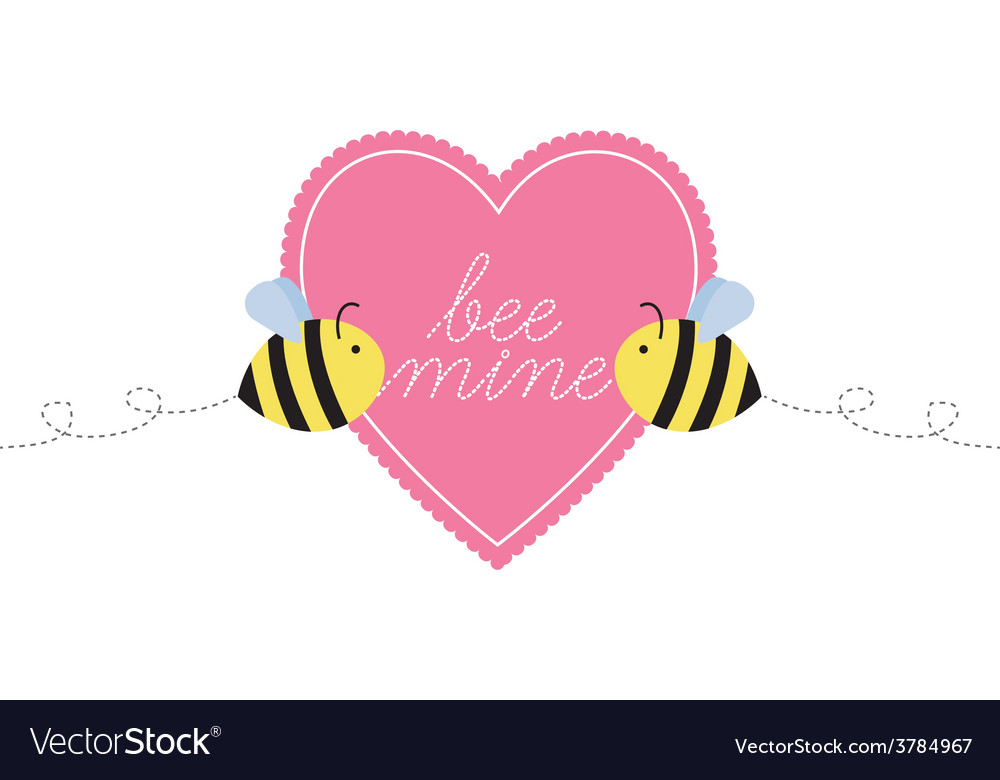 Bee mine heart two bees vector | Price: 1 Credit (USD $1)