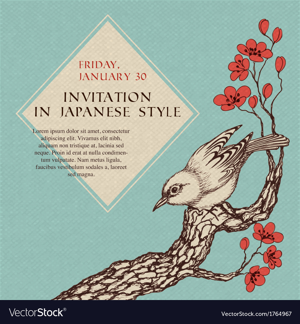 Celebration invitation in japanese style vector | Price: 1 Credit (USD $1)
