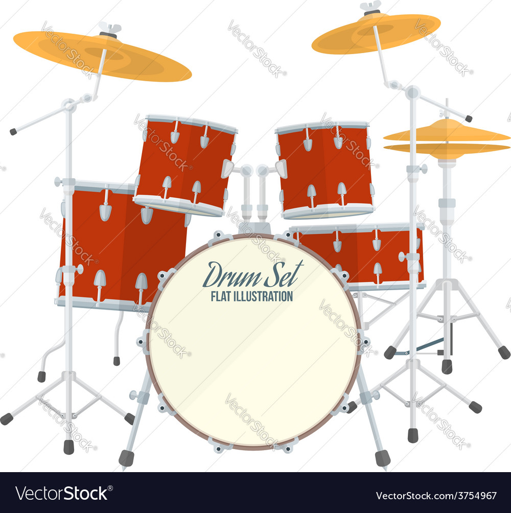 Color flat style drum set vector | Price: 1 Credit (USD $1)