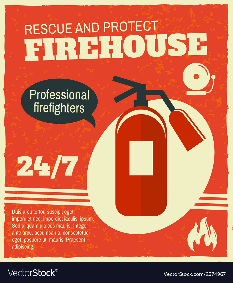 Firefighting retro poster vector | Price: 1 Credit (USD $1)