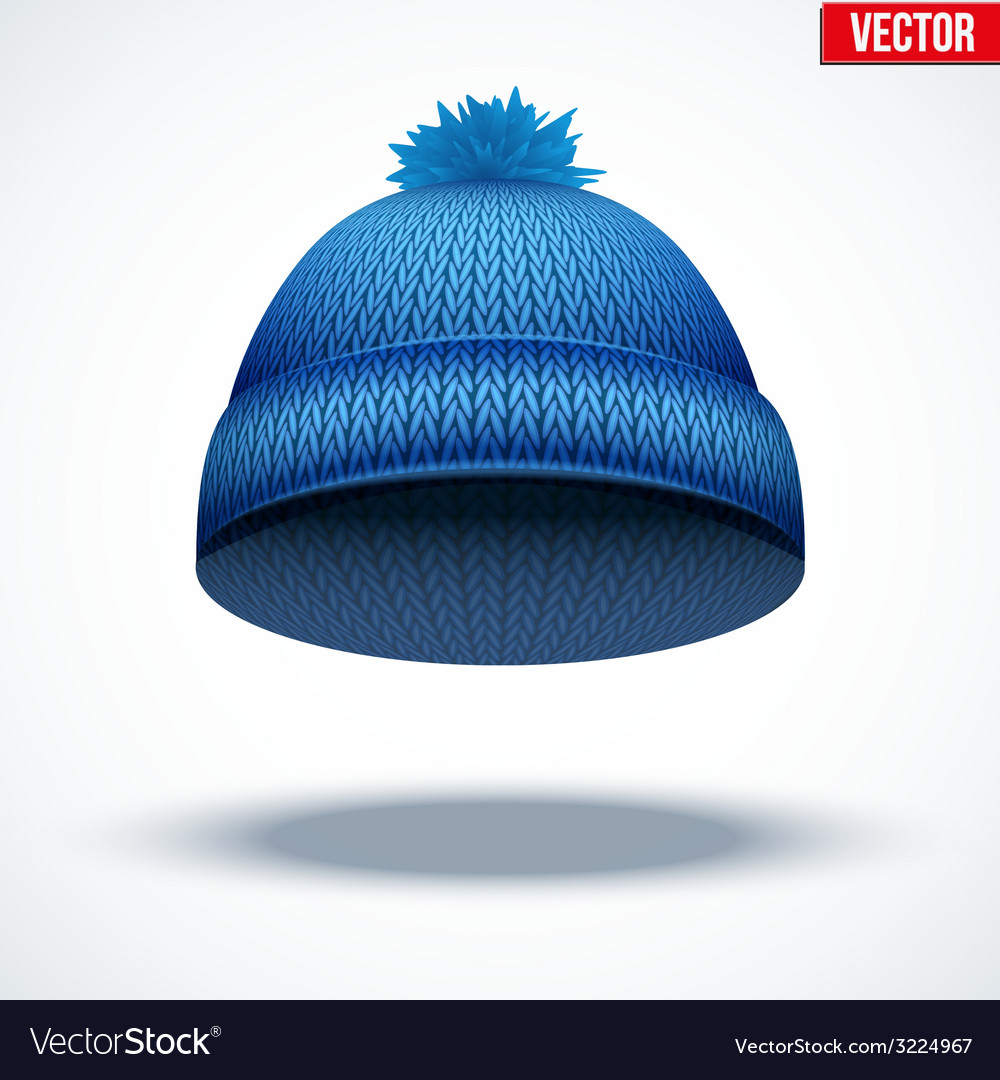 Knitted woolen cap winter seasonal blue hat vector | Price: 1 Credit (USD $1)