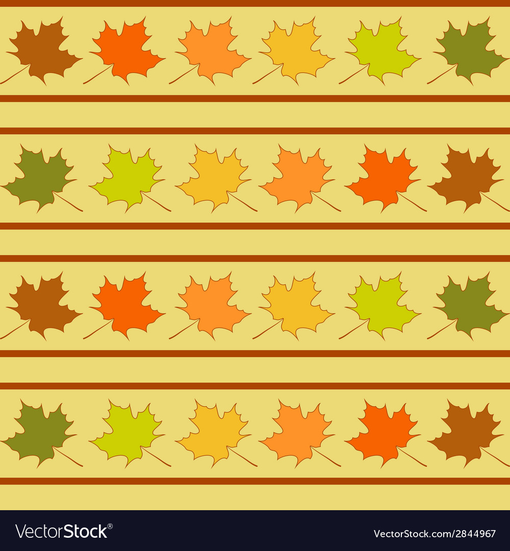 Maple leaf in rows seamless pattern leaves vector | Price: 1 Credit (USD $1)