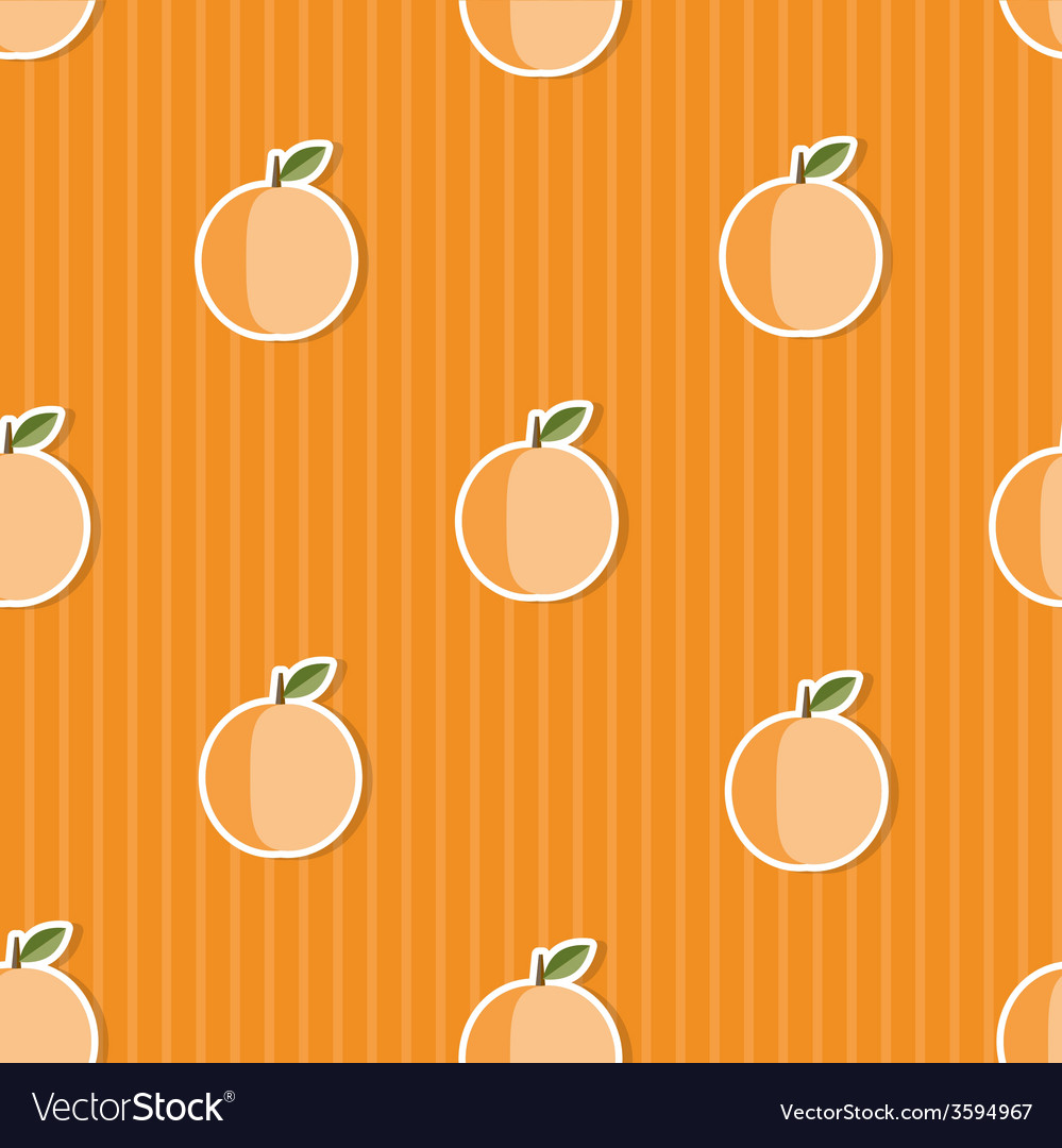 Peach pattern seamless texture with ripe peaches vector | Price: 1 Credit (USD $1)