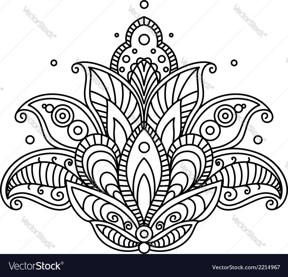 Pretty ornate paisley flower design element vector | Price: 1 Credit (USD $1)