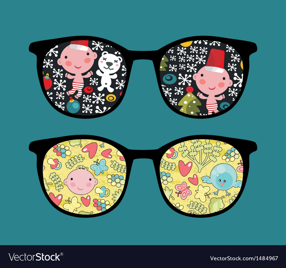 Retro sunglasses with cute baby reflection in it vector | Price: 1 Credit (USD $1)