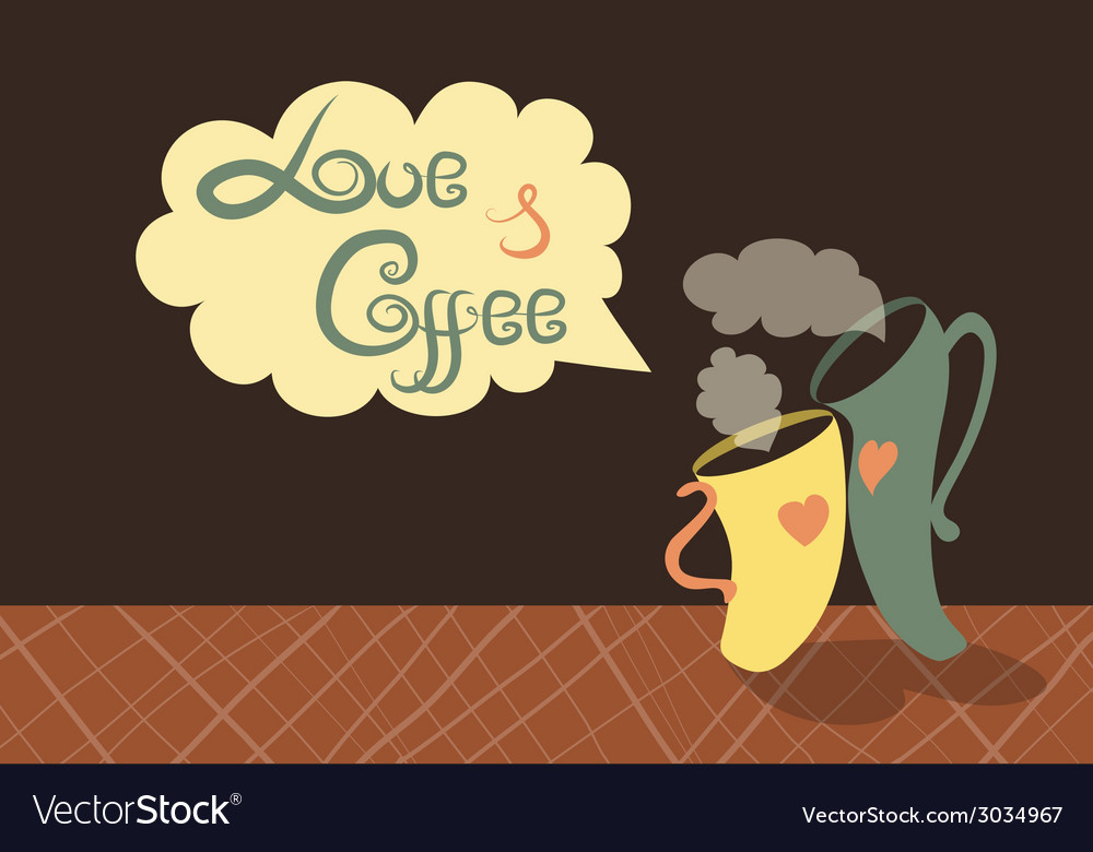 Romantic cups of coffee vector | Price: 1 Credit (USD $1)