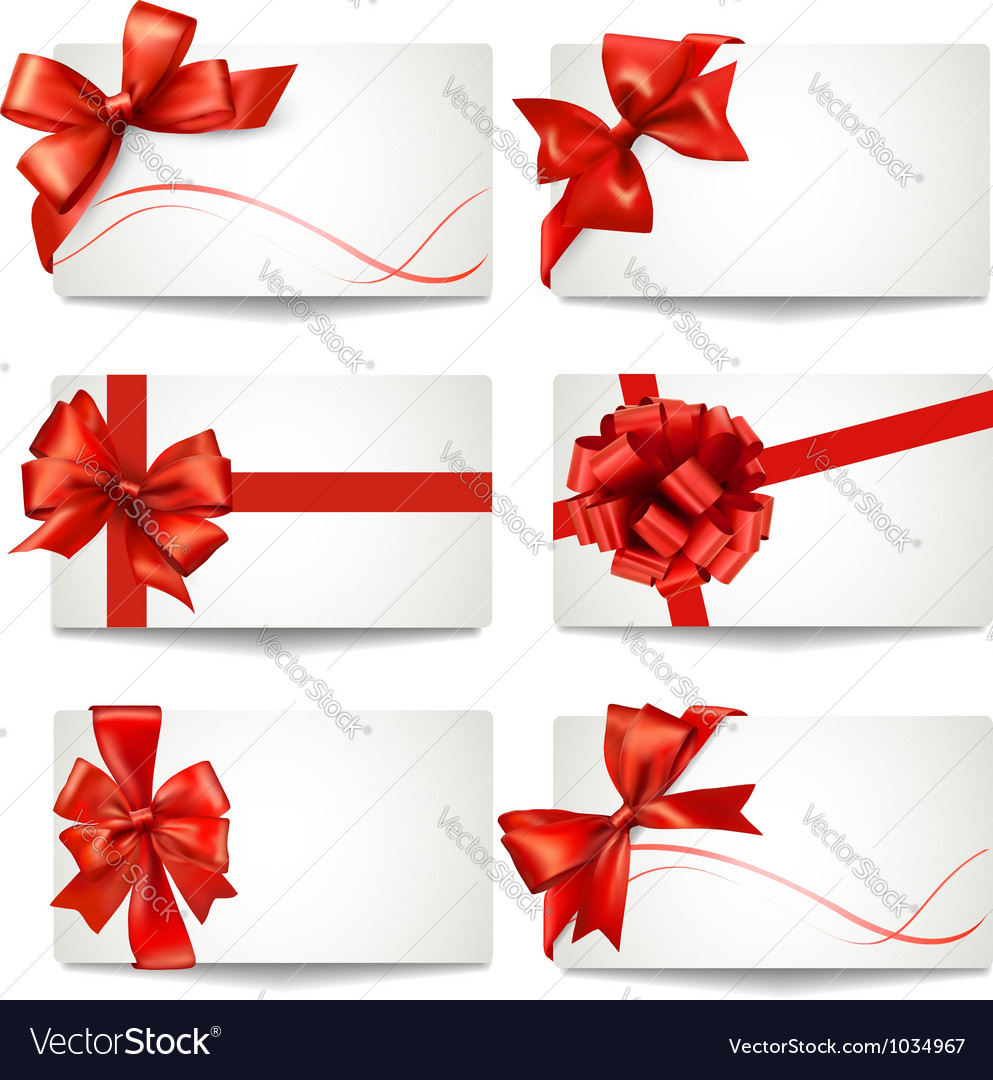 Set of gift card notes with red bows and ribbons vector | Price: 3 Credit (USD $3)