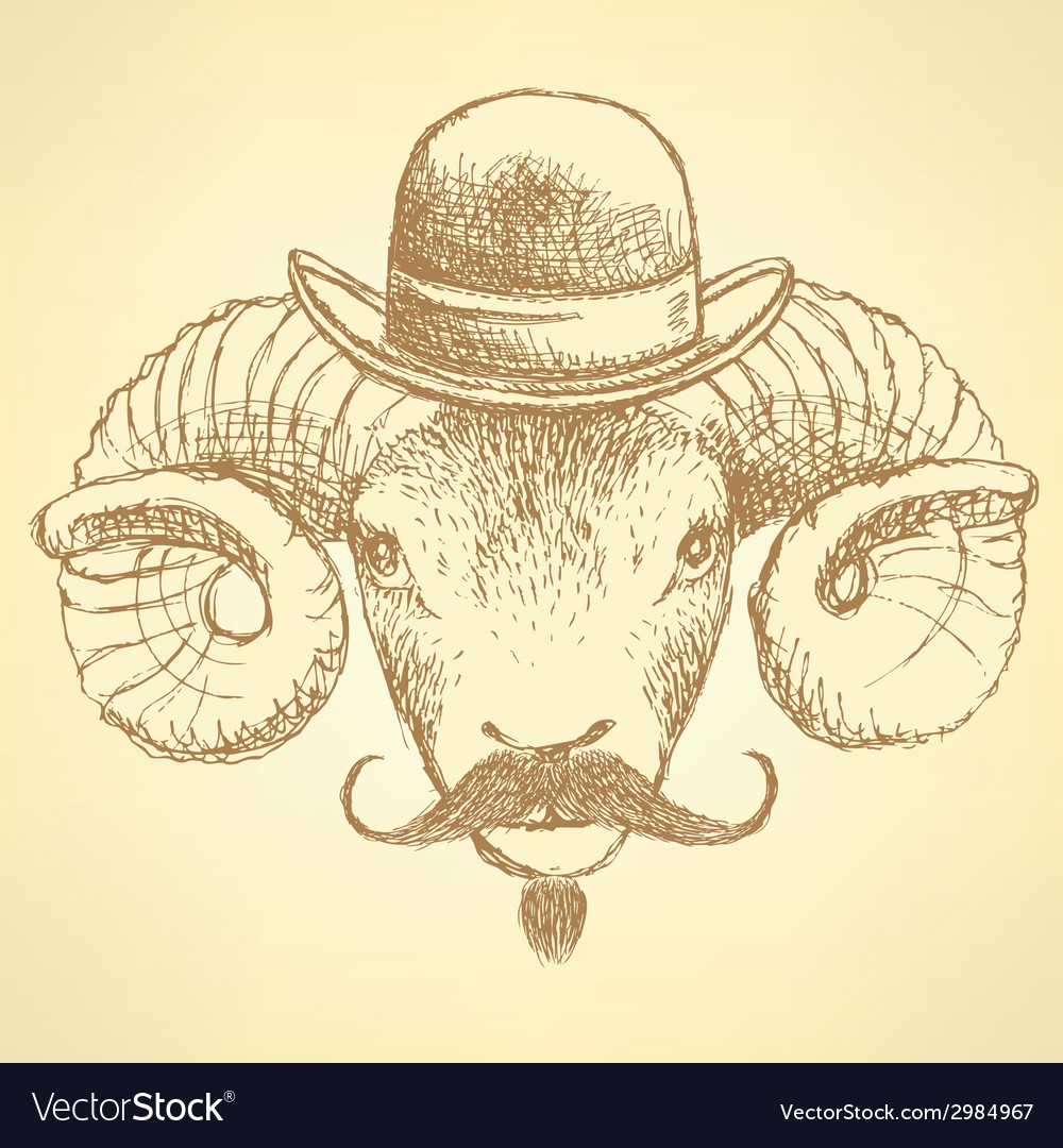 Sketch cute ram in hipster style vector | Price: 1 Credit (USD $1)