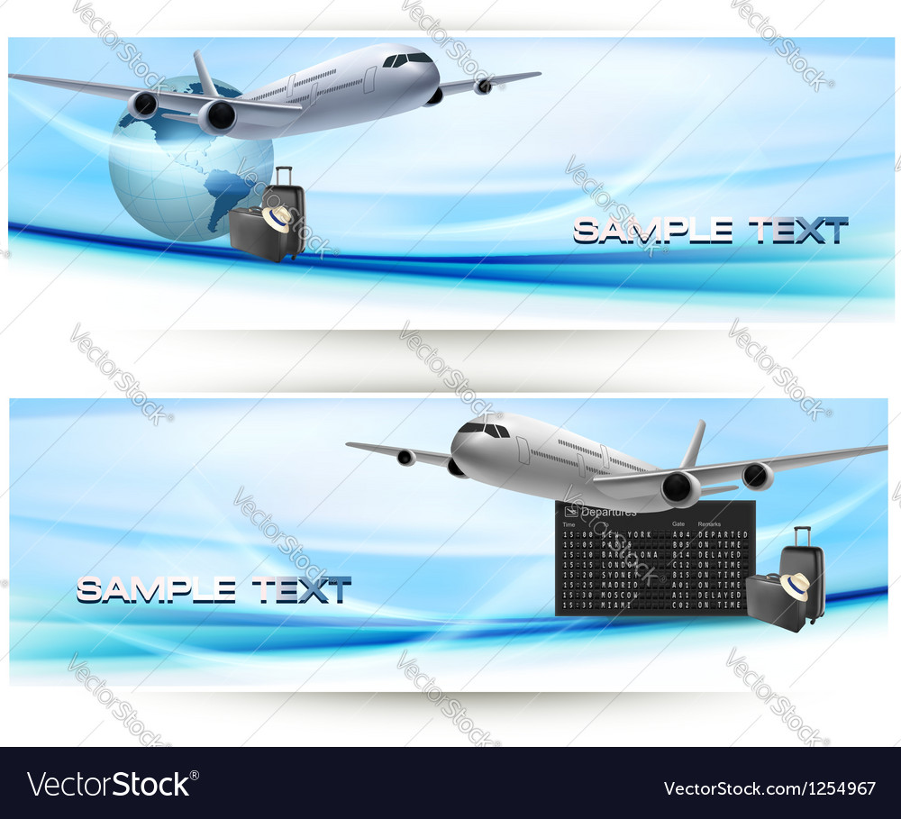 Two travel banners with airline and sky vector | Price: 3 Credit (USD $3)