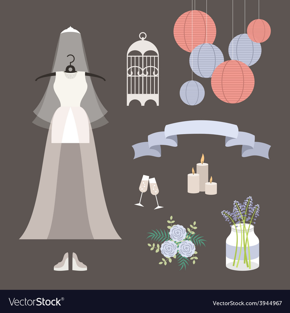 Vintage set of wedding and decorative eleme vector | Price: 1 Credit (USD $1)