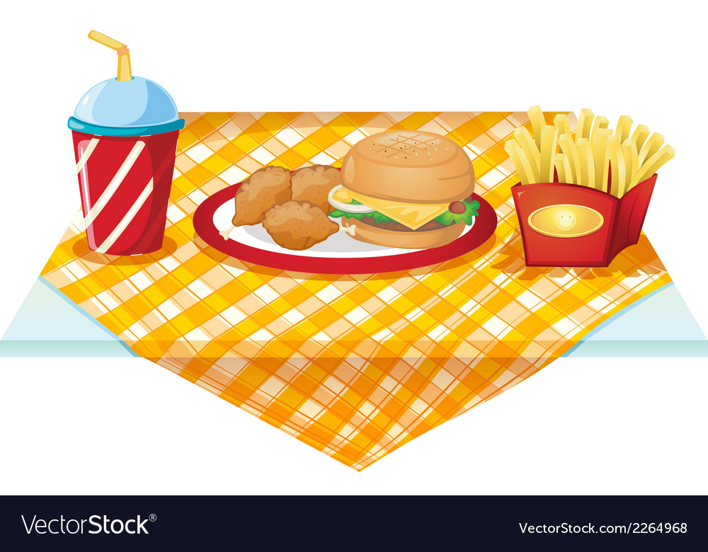 A fastfood table with foods vector | Price: 1 Credit (USD $1)