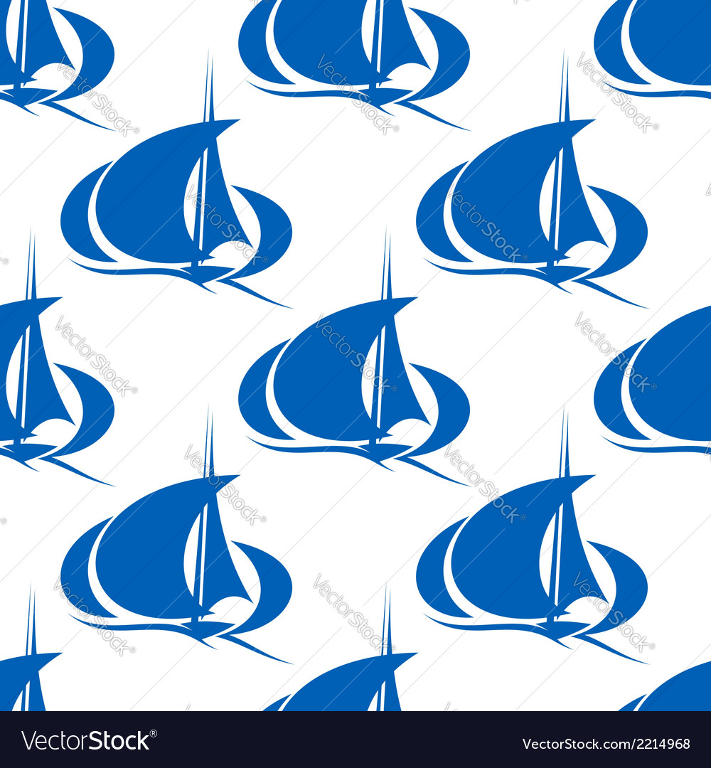 Blue yachts or sailboat seamless pattern vector | Price: 1 Credit (USD $1)