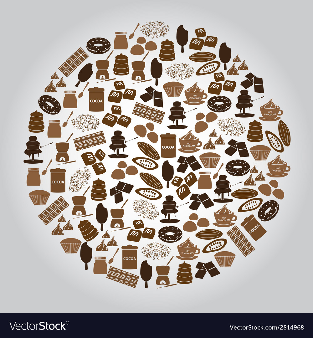 Chocolate brown icons set in circle eps10 vector | Price: 1 Credit (USD $1)