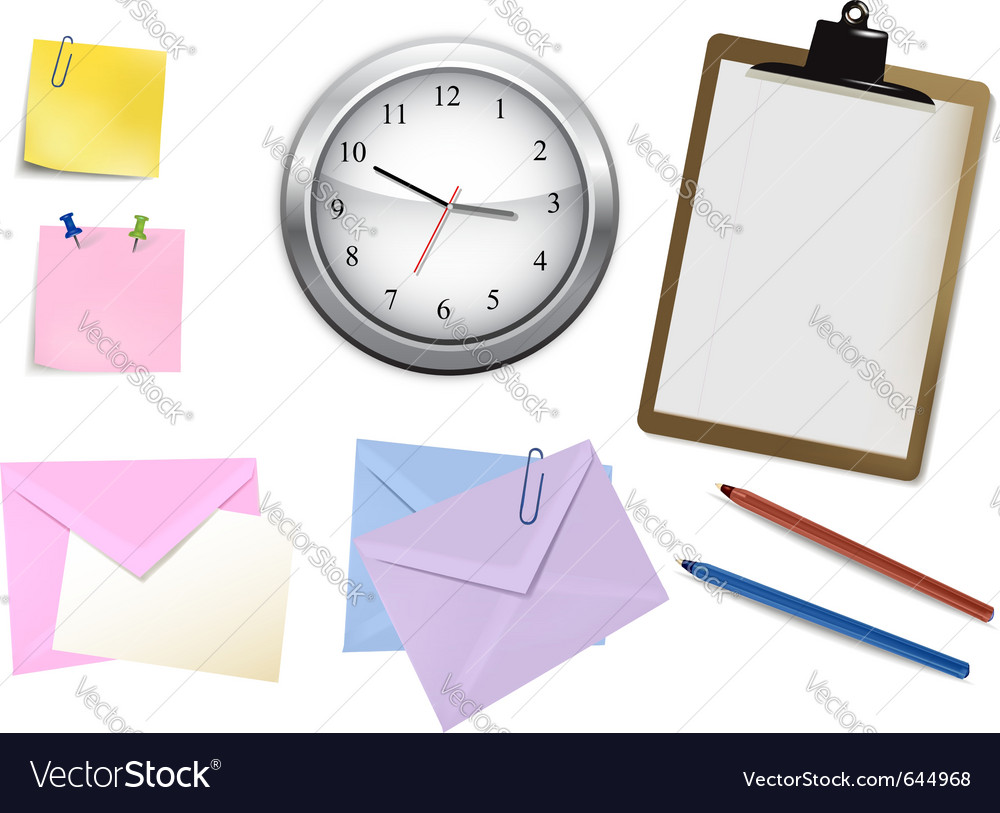Clock and office supplies vector | Price: 3 Credit (USD $3)
