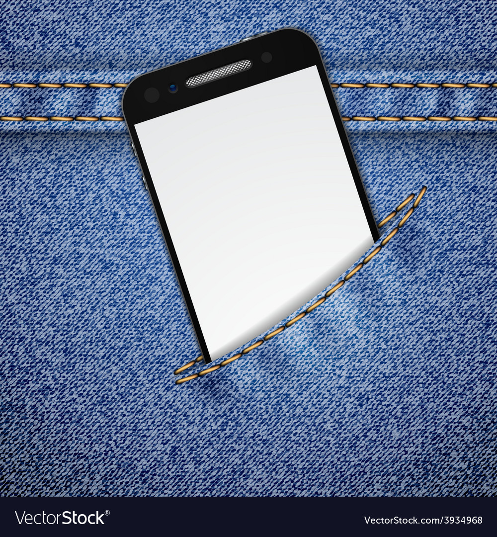 Denim background with smartphone vector | Price: 1 Credit (USD $1)