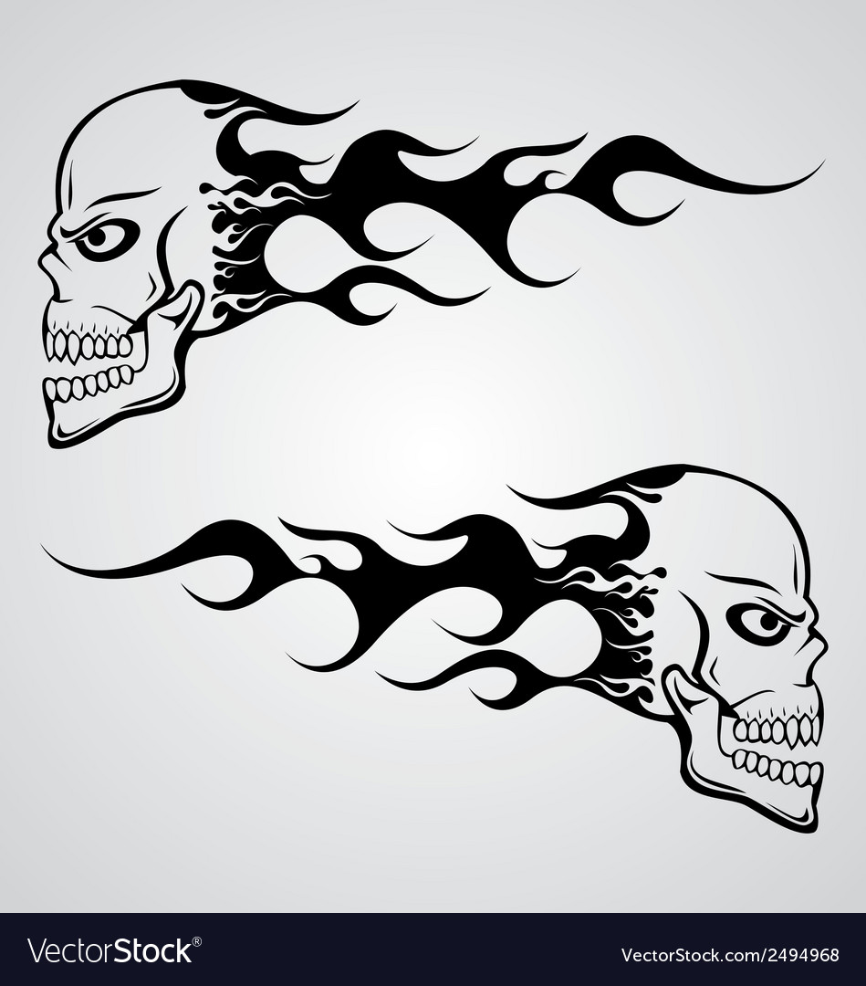 Flaming skull vector | Price: 1 Credit (USD $1)