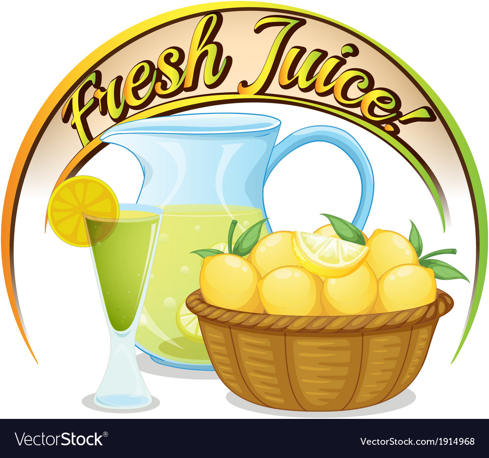 Fresh juice label with a basket of oranges vector | Price: 1 Credit (USD $1)