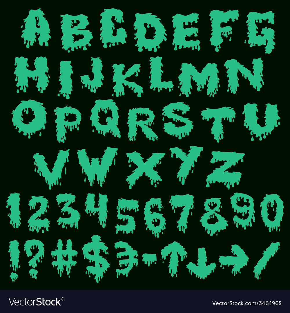Green font smudges alphabet splashing vector | Price: 1 Credit (USD $1)