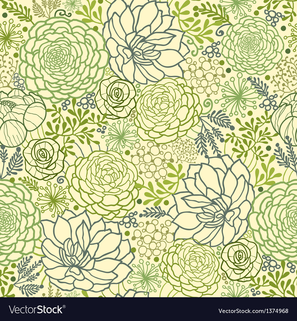 Green succulent plants seamless pattern background vector | Price: 1 Credit (USD $1)