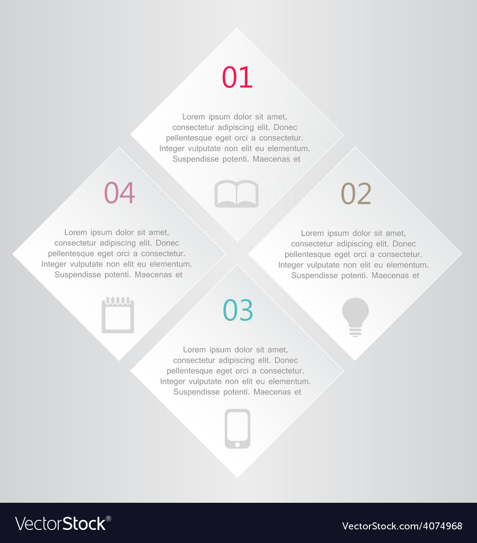 Modern infographics white square design template vector | Price: 1 Credit (USD $1)