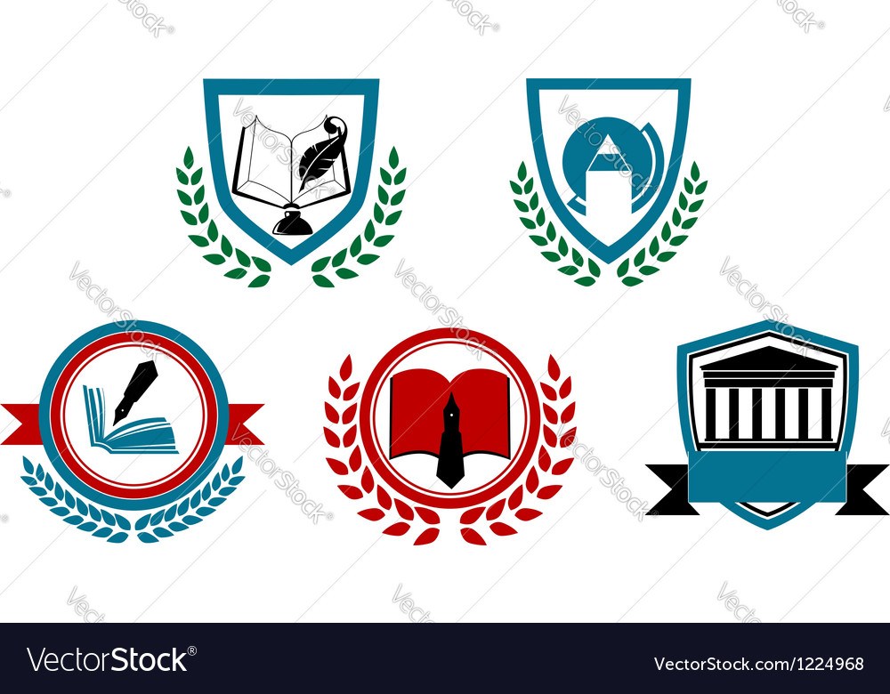 Set of abstract university or college symbols vector | Price: 3 Credit (USD $3)