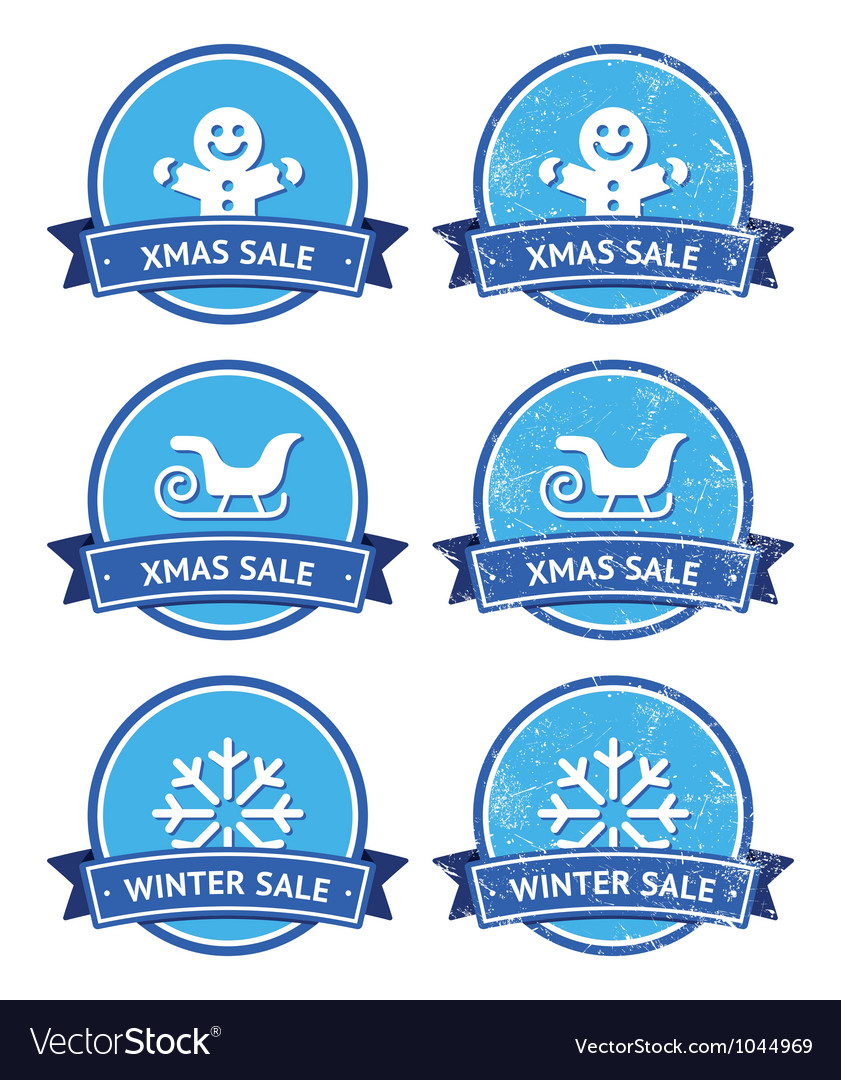 Christmas and winter sale retro labels vector | Price: 1 Credit (USD $1)