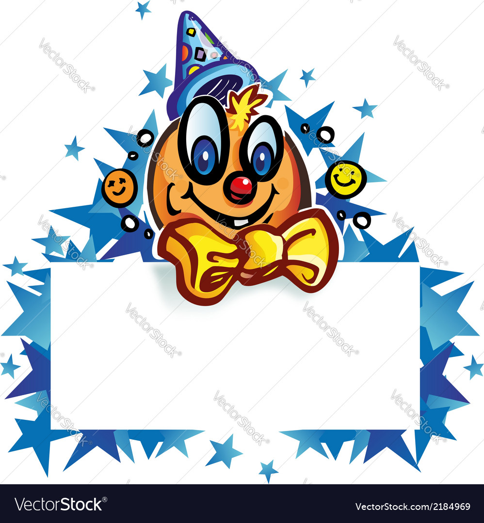 Clown whit banner on star vector | Price: 1 Credit (USD $1)
